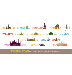 Southeast asia cities landmarks with text or word vector
