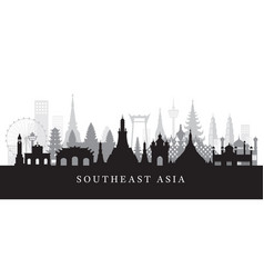 southeast asia landmarks skyline in black and vector image