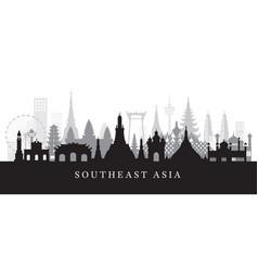 southeast asia landmarks skyline in black vector image