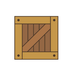 square crate for game design simple pack wooden vector image