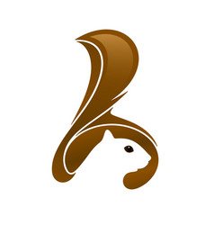 Squirrel head with tail and negative space vector