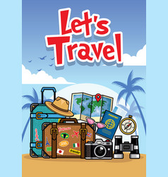 summer travel cartoon style vector image