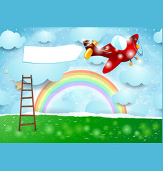 Surreal landscape with ladder airplane and banner vector