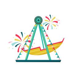 swinging boat ride at amusement park colorful vector image