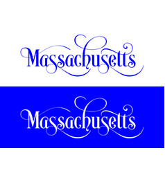 typography of the usa massachusetts states vector image