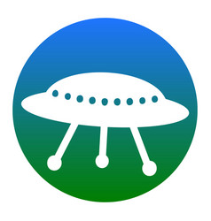 ufo simple sign white icon in bluish vector image