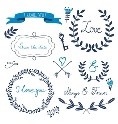 Valentines day collection with flowers wreaths vector image