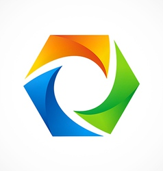 abstract 3D polygon color logo vector image vector image