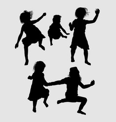 children happy playing silhouette vector image vector image