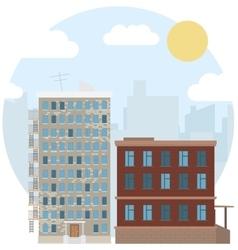 Day Urban Landscape City Estate Round Flat Icon vector image vector image