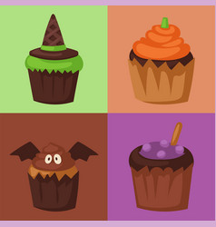 halloween cupcake cookie food night cake party vector image