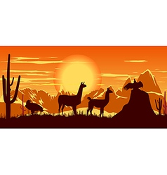 llamas wildlife background vector image vector image