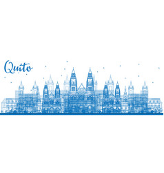 outline quito skyline with blue buildings vector image vector image