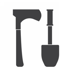 Shovel and Hatchel Outline Icons vector image vector image