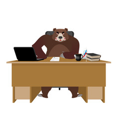bear sitting in an office russian boss at table vector image vector image