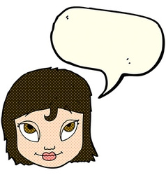 cartoon woman smiling with speech bubble vector image vector image