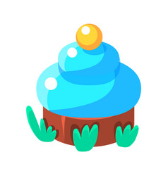 Chocolate cupcake with blue icing fairy tale vector
