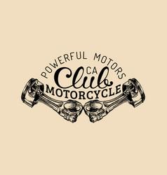 powerful motors vintage motorcycle club vector image