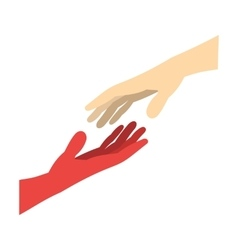 Two arms stretching towards each other icon vector image