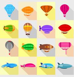 airship balloons icons set flat style vector image vector image