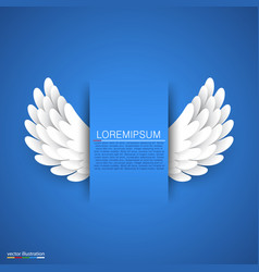 artificial white paper wings on blue background vector image