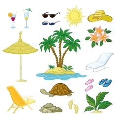 Exotic Set Palm Flowers and Beach Objects vector image vector image
