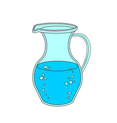 jug or carafe with water on white background vector image vector image