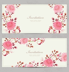lovely floral invitation cards for your design vector image
