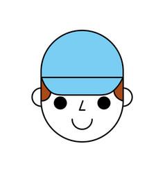 man face with cap cartoon repair character work vector image vector image