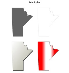 Manitoba blank outline map set vector image vector image