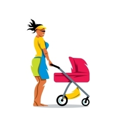 Mother with baby carriage Cartoon vector image
