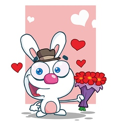 Romantic White Bunny Holding A Bouquet Of Flowers vector image vector image