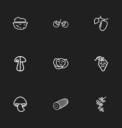 set of 9 editable cookware outline icons includes vector image