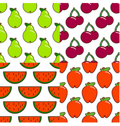 set of seamless fruit and berry pattern flat vector image vector image