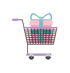 Silhouette color with shopping cart purple and vector