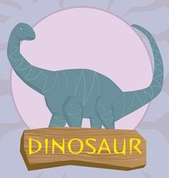 Dinosaur brontosaurus silhouette against the sun vector image