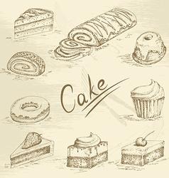 Hand drawn cake sketch vector image vector image
