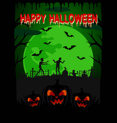 happy halloween background with zombie vector image vector image