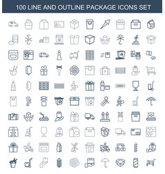 100 package icons vector