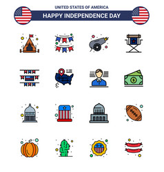 16 flat filled line signs for usa independence vector