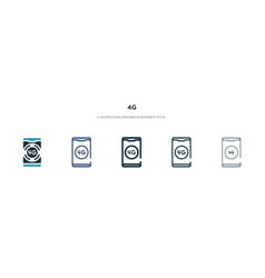 4g icon in different style two colored and black vector