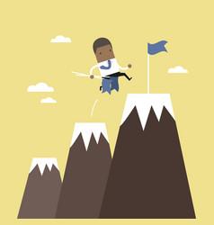 African businessman climbing up mountains vector