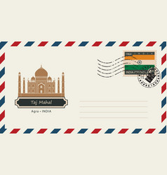 An envelope with a postage stamp with taj mahal vector