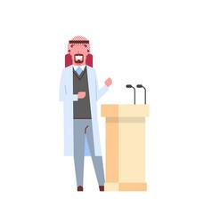 Arab male doctor giving speech from tribune vector