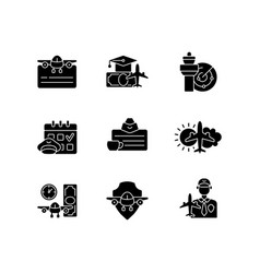 Aviation black glyph icons set on white space vector