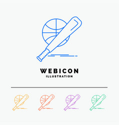 baseball basket ball game fun 5 color line web vector image