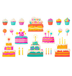 Birthday cakes party celebration cupcake with vector