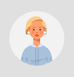 Blonde girl avatar beautiful woman face female vector