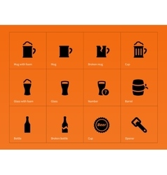 Bottle and glass of beer icons on orange vector image