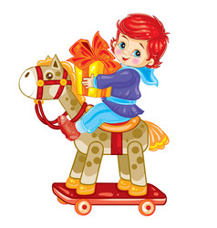boy swinging on a toy horse and holding a gift in vector image